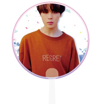 Wholesale Gift Custom Printed Plastic Round Hand Fans Korea Kpop Stars Transparent Hand Fan