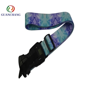 Promotional high quality Fashion sublimation elastic luggage strap with weighing scale
