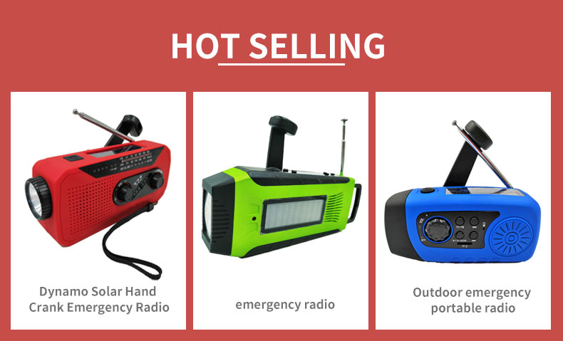 Emergency Lighting LED Lamp Solar Hand-operated Power Generation Survival AM/FM/NNOAA Radio with 2000mAh Power Bank
