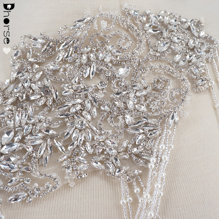 New design luxury bridal beaded appliques with beads chains