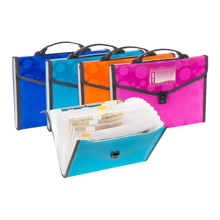 NEON A4 Foolscap Plastic Expanding File with Handle, Letter Size Poly 13 Pockets Accordion File Organizer