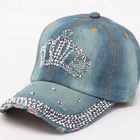 Caps Girls Women Cotton Twill Bling Baseball Hats Caps With Crown Rhinestones And Studs