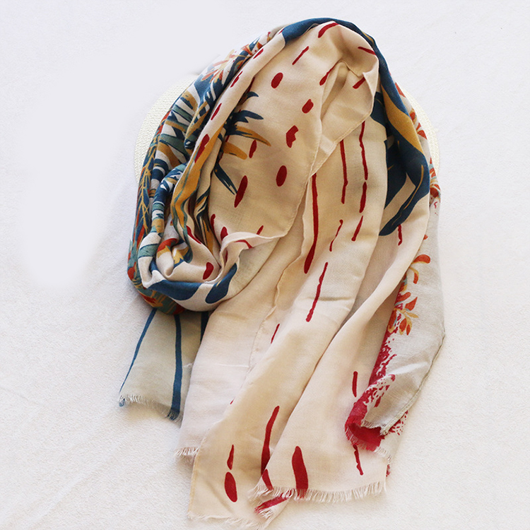 High quality boho floral print scarf shawl ,fashion tropic leaves print <strong>faux</strong> linen scarf <strong>wrap</strong>,women scarf hijab