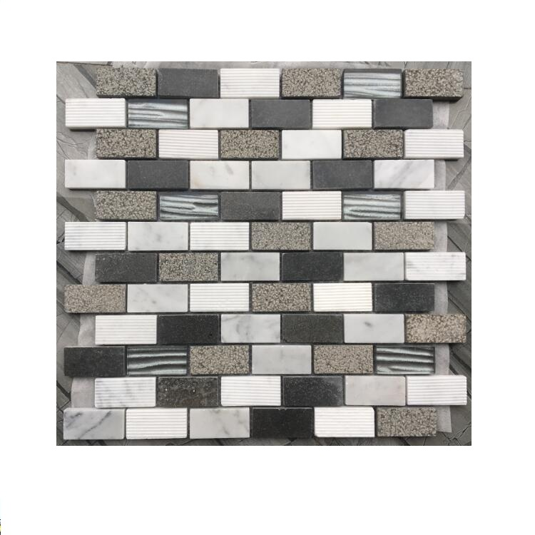 Hot Selling Carrara white and black Natural Stone Mosaic marble mosaic glass mosaic Manufacture from Foshan China
