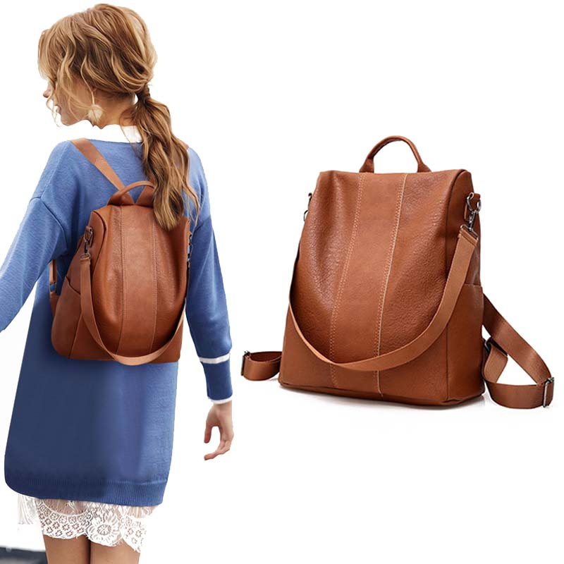 mochilas 2020 Luxury designer fashion PU leather women backpacks 2 ways design shoulder backpack bags for girls college school leisure