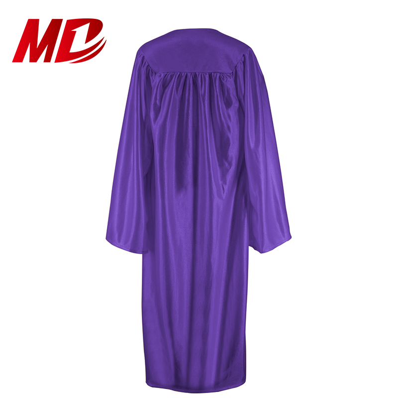 High School Shiny Purple Adult Graduation Gown