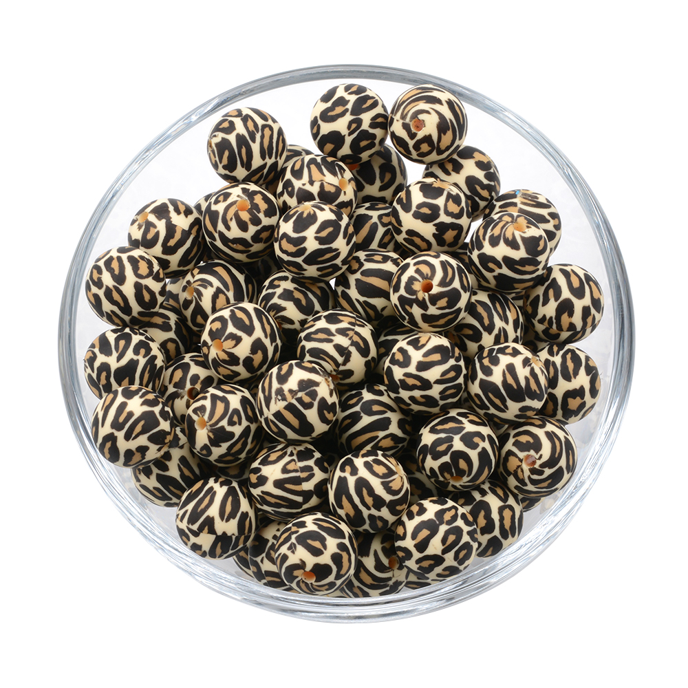 2020 Popular Leopard Print 15mm Round Silicone Beads