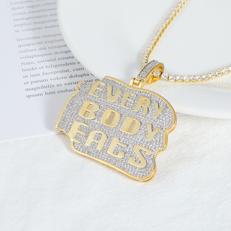 everybody eats Letter Pendant with Cubic Zirconia AAA zircon stone 18k gold plated large arabic custom letter pendant