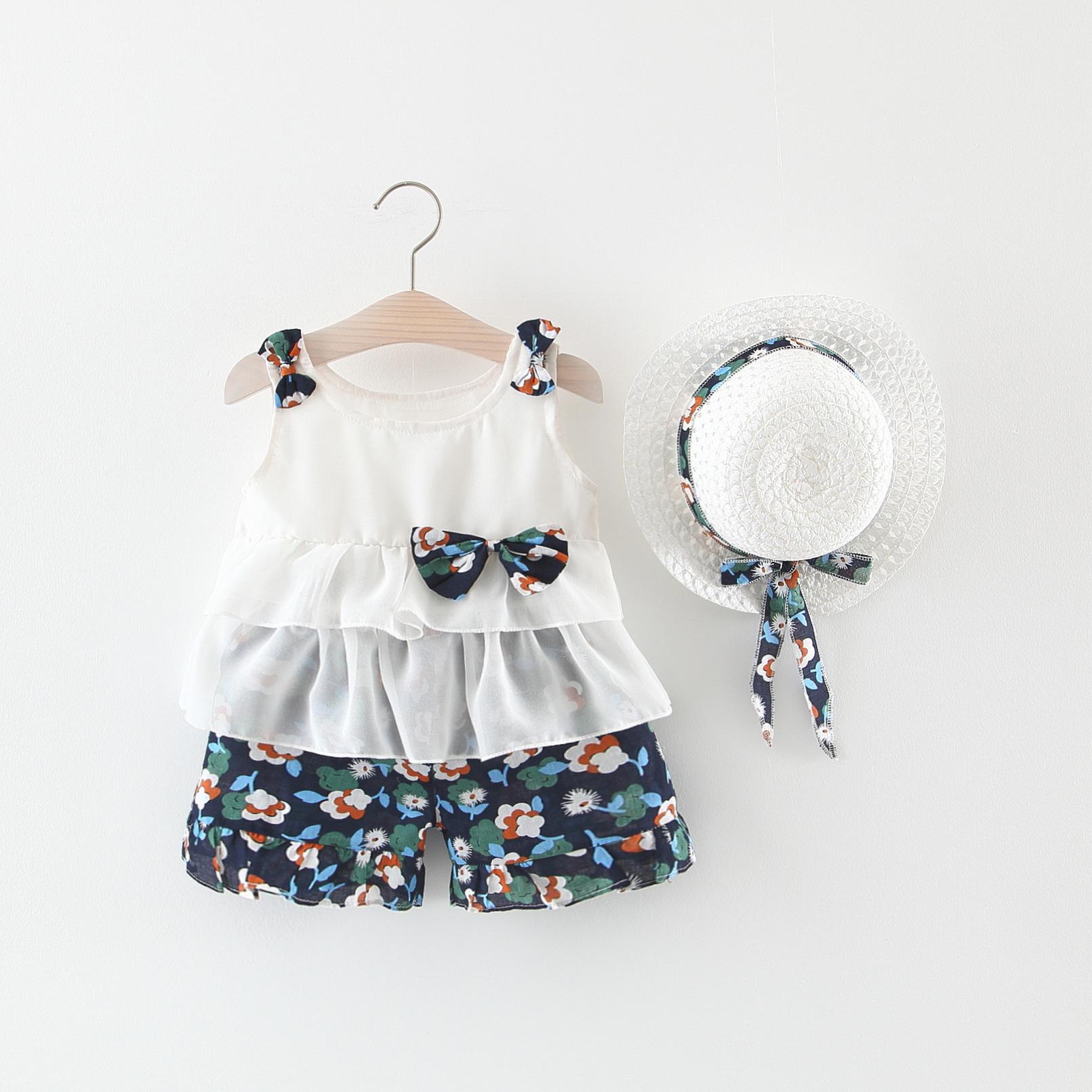 2020 Nieuwe Mode Zomer Bloemen Boog Meisje Kleding Koreaanse Ruche Band 3 Pcs Baby Meisje Sets