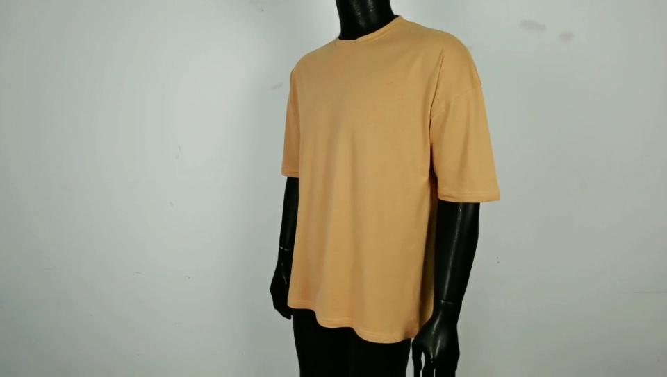 Homens personalizado Private Label Promoção Oem Tshirt Streetwear Sólida Ombro Queda Longas Camisetas de Algodão Orgânico de Alta Qualidade