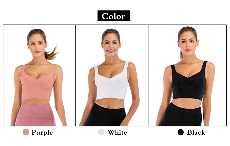 Womens U Collar Breathable Organic Yoga Wear Running Fitness Clothing With Pad