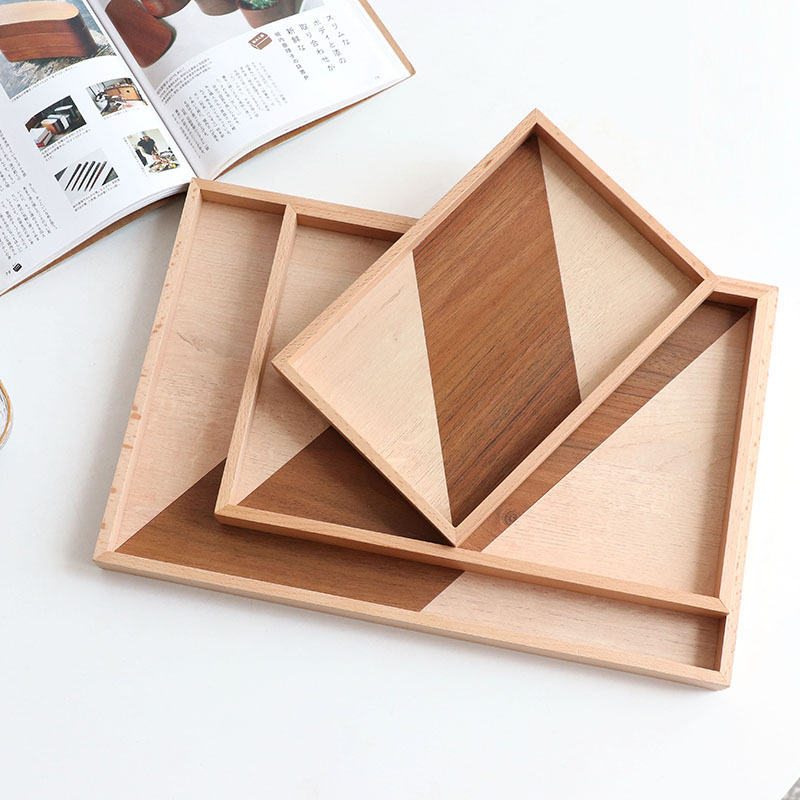 New design rustic wooden serving tray disposable wood tray tea tray wood