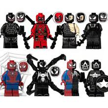 Набор из 8 предметов, Звездные войны, серия Marvel, супергерой, Мстители, Человек-паук, яд, строительные блоки, кирпичи, фигурки, совместимые с Lego,...(Китай)
