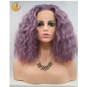Wholesale Synthetic wig half hand tied Lace front wigs made of Heat Resistant Fiber for Dating violet