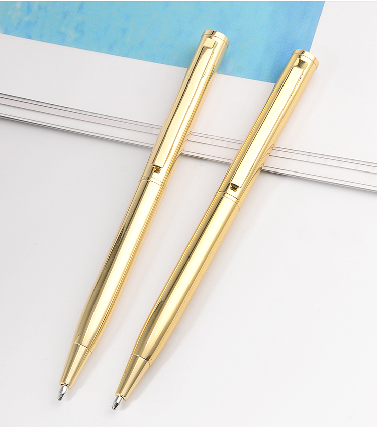 New Retail Hot Sale Short Size Metal Ballpoint Pen High Quality Shiny Gold Stationery Writing Pen for Business Gift