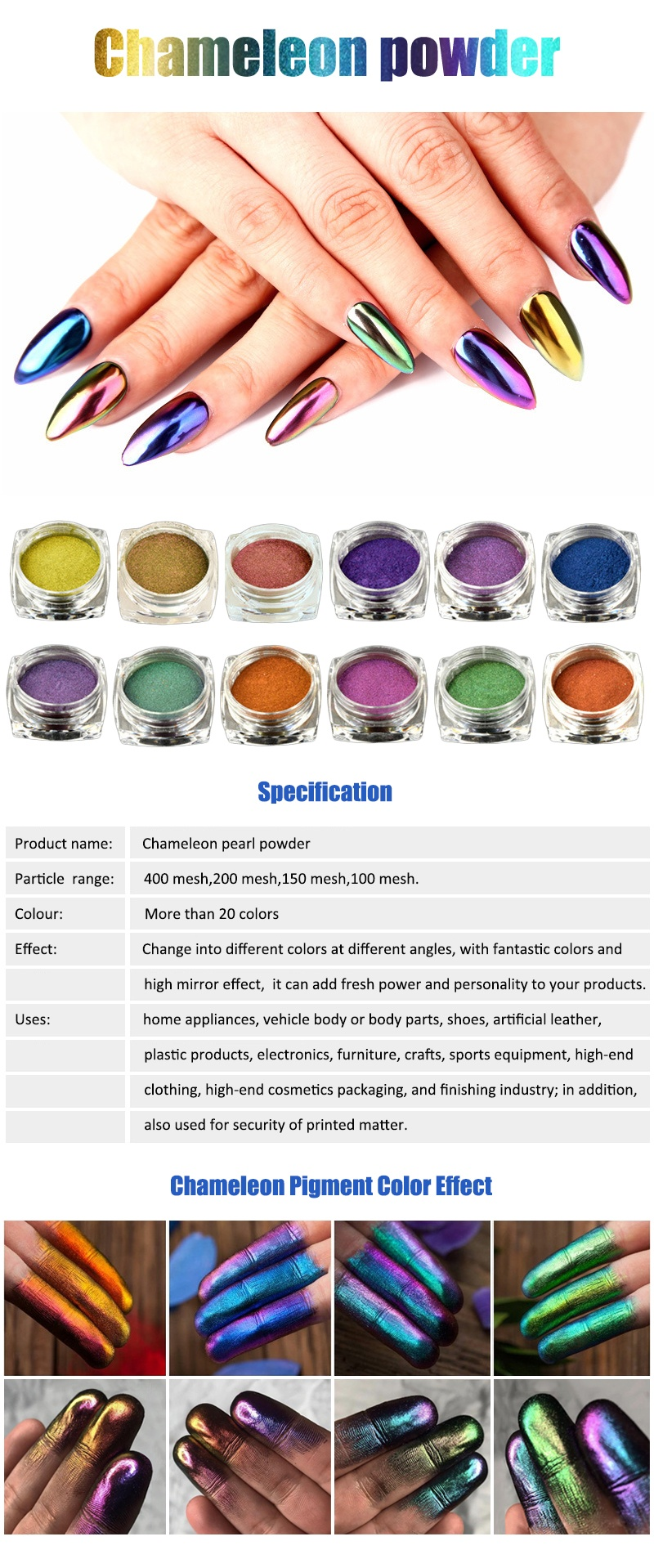 Chameleon Pigment for cosmetic and nail polish