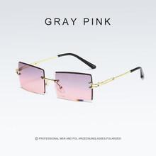 2020 Новые Модные прямоугольные градиентные солнцезащитные очки женские солнцезащитные очки без оправы роскошные солнцезащитные очки для ж...(Китай)