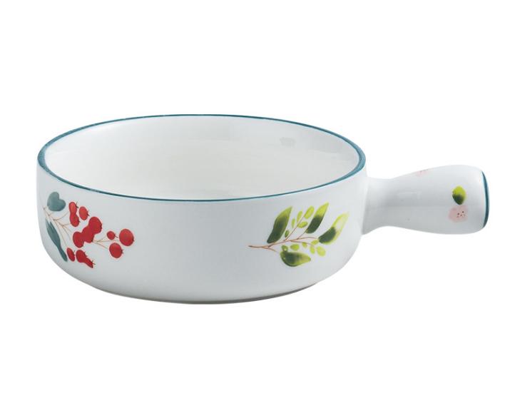 Personalizado Cerâmica Handpaint Servindo Tigelas De Sopa Empilhável Lidou Com Sopa de Cebola Francês Prato Potes Forno Microondas Máquina de Lavar Louça Segura