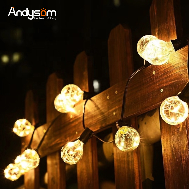 Hot-Sale Outdoor G40 Kawat Tembaga Natal Pernikahan Dekorasi String Light dengan LED Mini Dunia Dihiasi Lampu Lampu