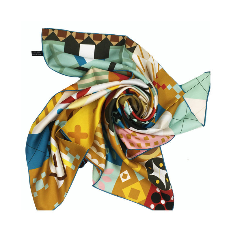 Factory custom digital print 100% natural silk animal infinite scarf