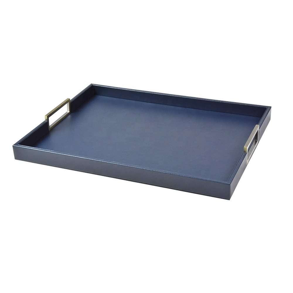 Customized black PU leather serving tray for hotel