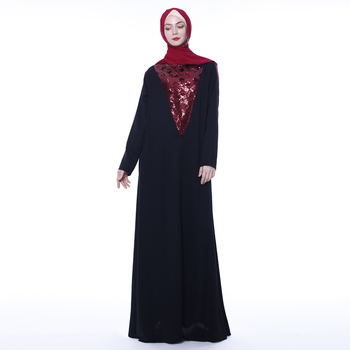 2019 plain black hijab dress with glitter paillettes chiffon fabric women dress