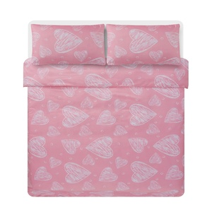 China Fashionable Pink Heart microfiber duvet bedding cover set for Home