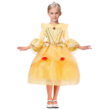 005 Wholesale Kids Clothing Europe Style Princess Aurora Stage Performance Frock Fancy Girl Party Dress