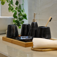 JIA SHUN hotel bathroom product eco friendly ceramic colorful bathroom accessories set with wood tray