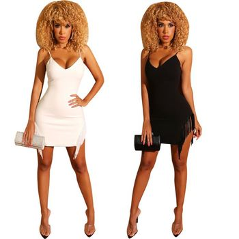 9S02934 hot selling solid color sexy nightclub woman sling fancy tassel v neck dress