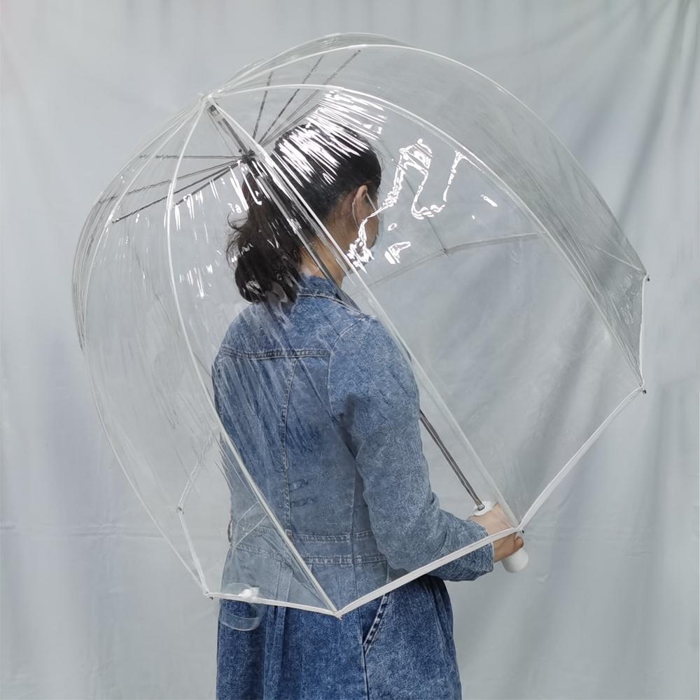 Birdcage Umbrella Wooden Handle Transparent Straight Umbrella With Customized