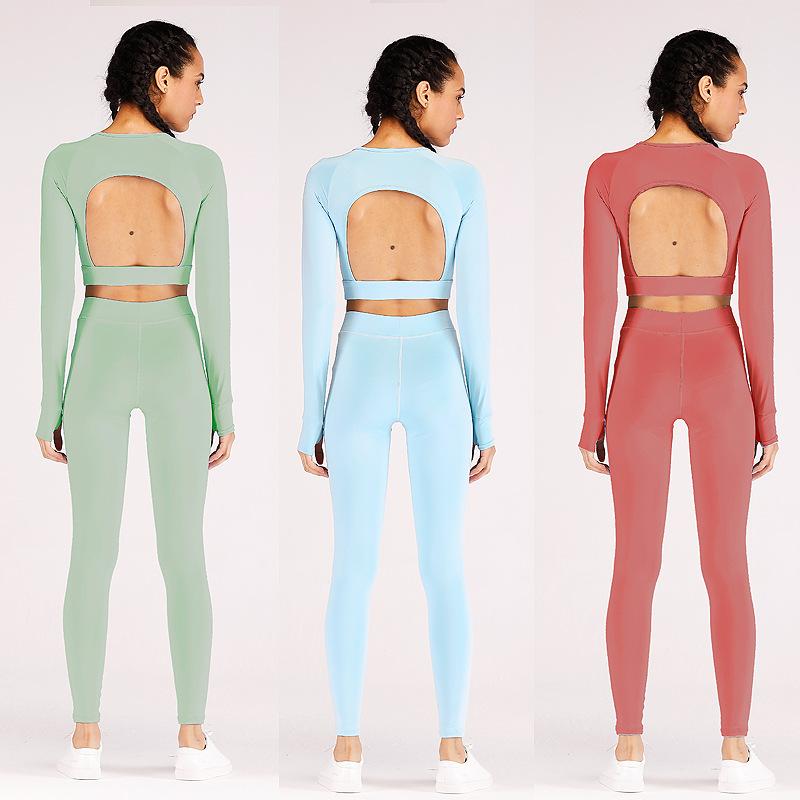New Design 6 Colors Long Sleeve Sports Top Sliming Yoga Pants Leggings And Bra Set 6