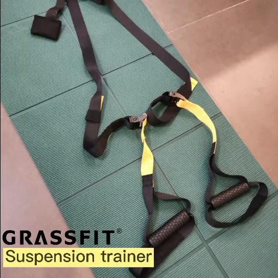 Adjustable Core Power Exercise Grassfit Bodyweight Resistance Training Straps Suspension Trainer Kit for body weight training