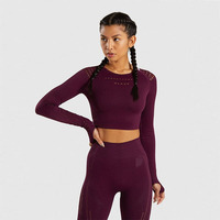 Women Sports Suit Seamless Yoga Workout Gym Set Push Up Seamless Leggings Long Sleeve Crop Tops Fitness Clothing S407