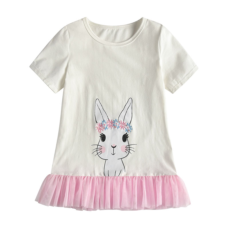Baby Girls T Shirts Kids Spring Summer Clothes Cute Rabbit Print T Shirt Cotton Short Sleeve Tops Lace Patchwork Bottom Tees