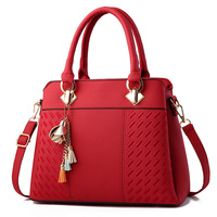 customize Tassel PU Leather Totes Bag Top-handle Embroidery Crossbody Bag Shoulder Bag pu leather handbag