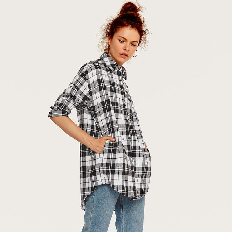 wholesale Women Fashion Plaid <strong>Cotton</strong> Cloak <strong>blouse</strong> sexy tops long sleeve <strong>ladies</strong> t shirts