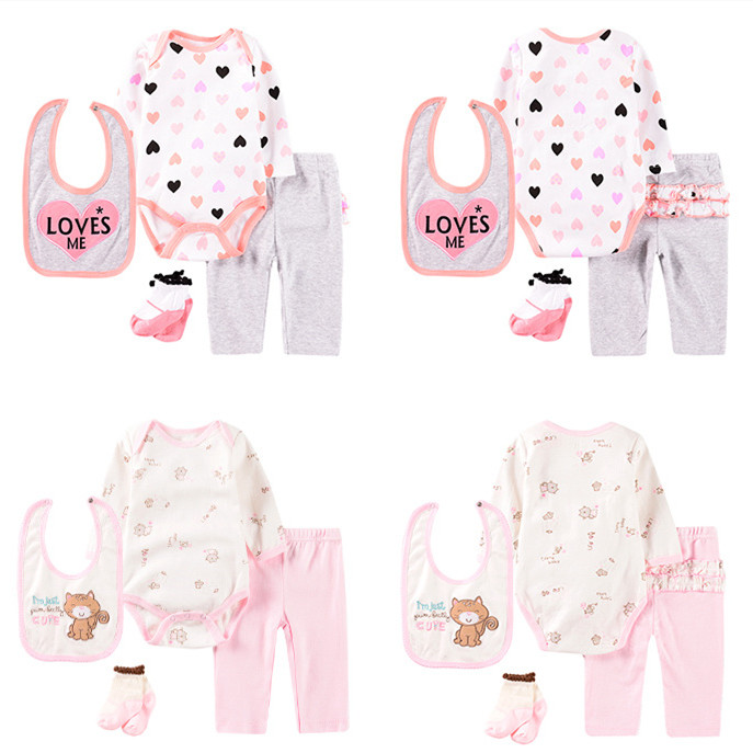 <strong>4</strong> pcs baby clothing set 100% cotton knit printed infant bodysuit baby clothes sets