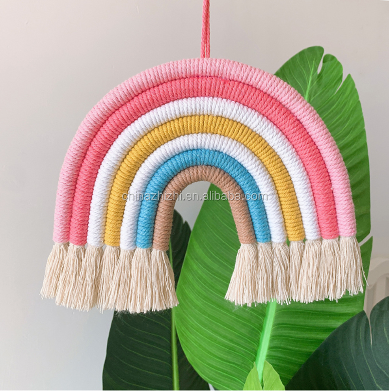Hot sale in stock rainbow wall hanging wall weave cotton rope kids room decor wall art