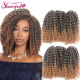 3 pieces/pack Marlybob Kinky Curl 8 Inch Afro Kinky Twist Hair New Popular Synthetic Crochet Braiding Hair Extention