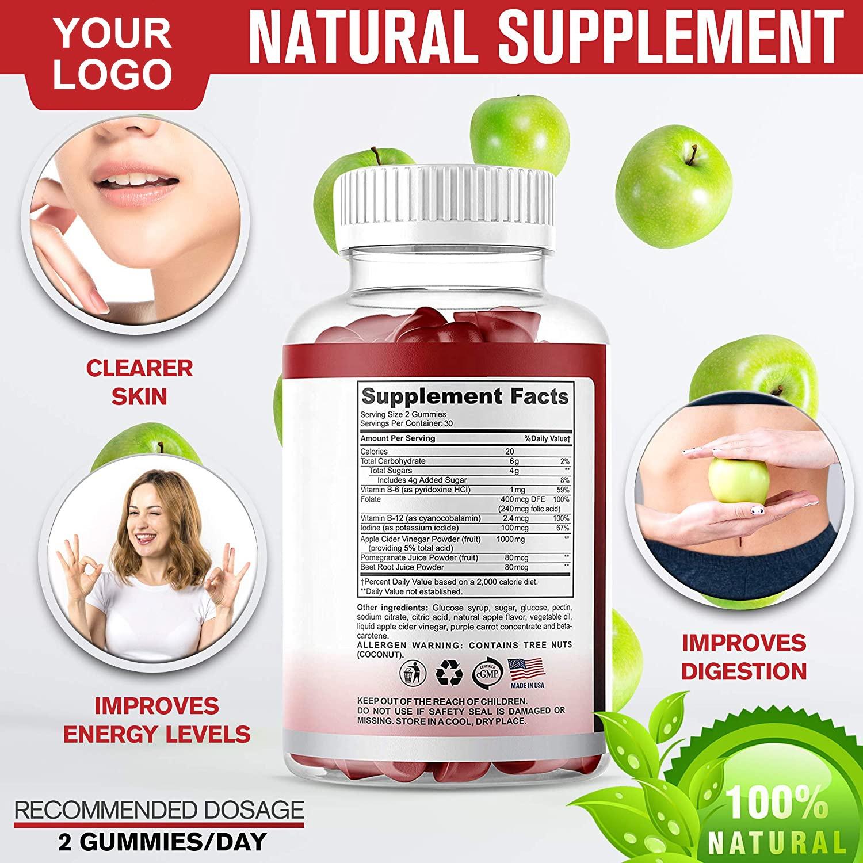 Organic Health 1000MG Vegan Apple Cider Vinegar Slimming Gummies For Weight Loss