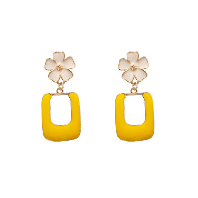 Korean Style Beautiful Enamel <strong>Flower</strong> Square Pendant Silver Needle Stud <strong>Earrings</strong> for Women