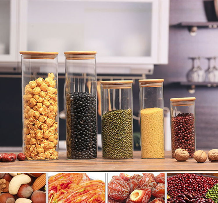 Clear Bamboo Lid Food Containers / Glass Storage Jar Sealed Cans / Borosilicate Storage Jar With Bamboo Cap