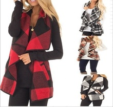 MY-016 2018 Hot selling casual plaid vest for women fall boutique clothing wholesale
