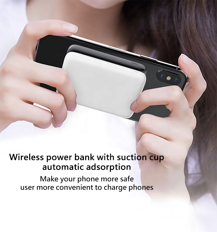 New trend selling mini 5000mah ultra-thin portable power bank with suction cup
