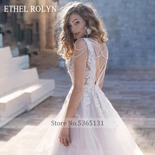 Свадебное платье с открытой спиной ETHEL ROLYN, свадебное платье с v-образным вырезом, расшитое бисером, без рукавов, ТРАПЕЦИЕВИДНОЕ свадебное пл...(China)