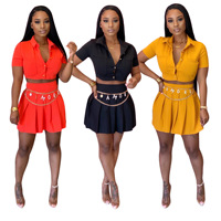 women summer fashion pleated 2 pieces short sexy dress