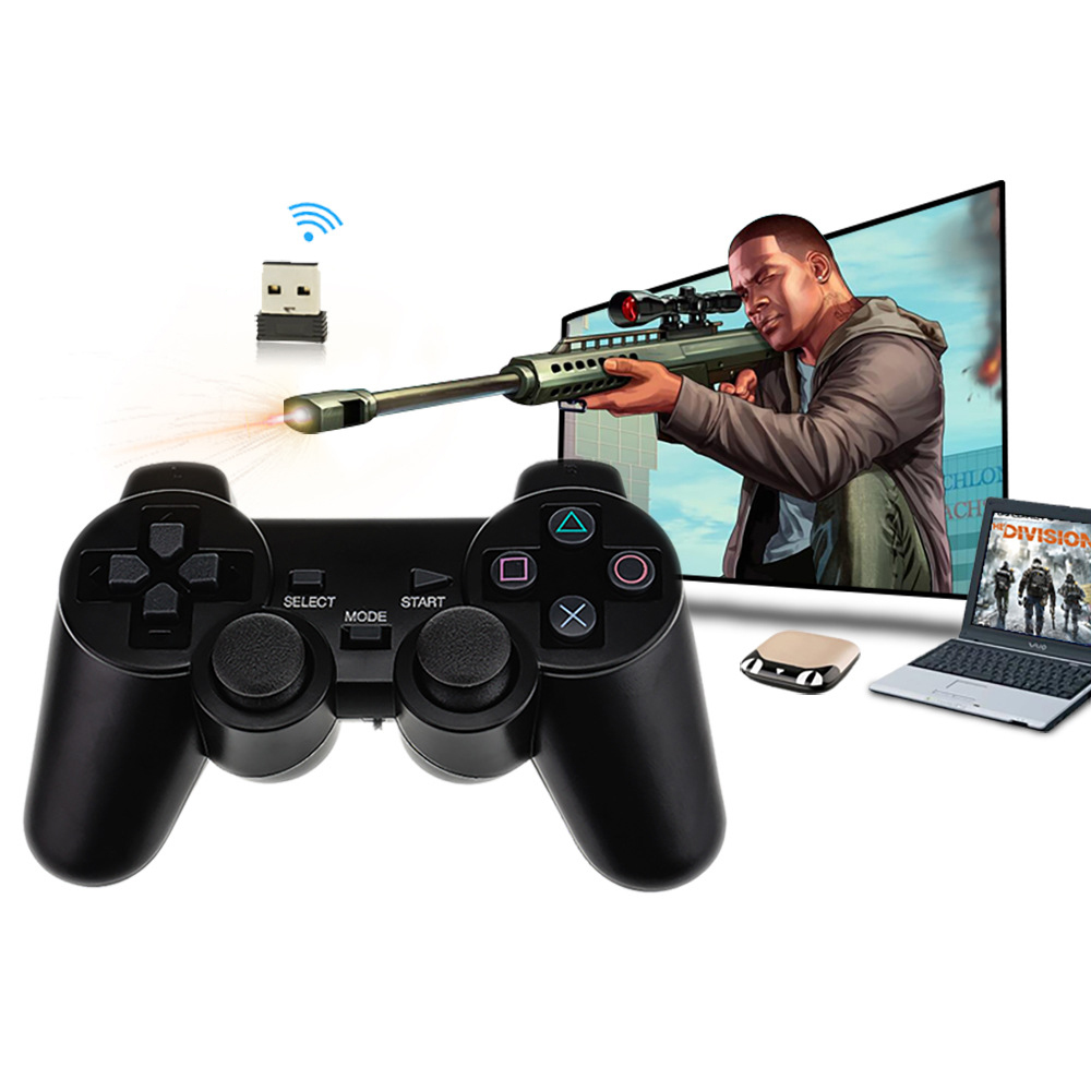 Double Getaran Motor PC 2.4G Wireless USB Gamepad Video Game untuk Android Kotak dan Smart TV