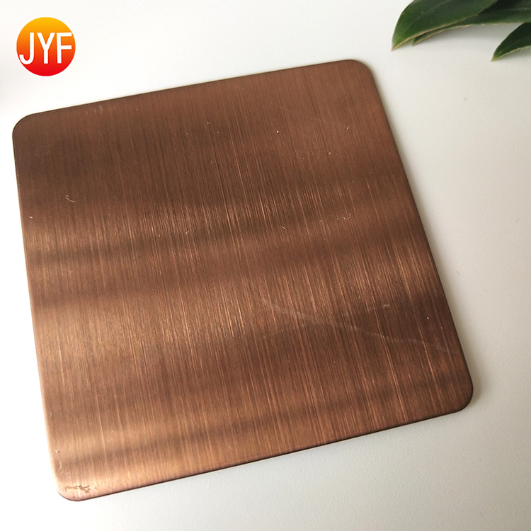 Jyft010 4X8  Brushed Rose Gold Hairline Metal Stainless Steel Sheet