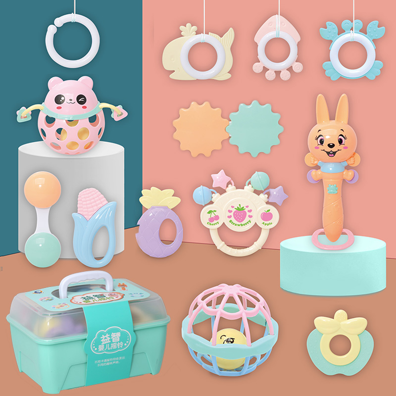 13 Piece Set Storage portable gift box funny plastic hand bell rattles set baby rattle toys